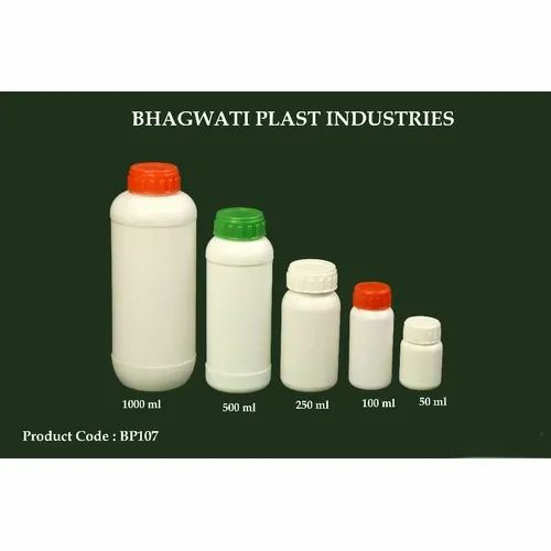 White HDPE Plastic Bottle For Agrochemicals, Capacity: 1000ml