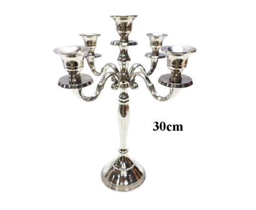 Aluminium Candelabra with 5 arms Nickel Plated Finish Candle Holder, Size: 12.5 Inch