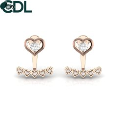 Real Diamond Heart Stud Earrings Solid 14kt Yellow Rose White Gold Fine Jewelry For Girls