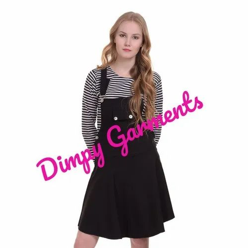 2dbe8ddc7aa Dimpy Garments Cotton Black Dungaree Skirt For Women-2025
