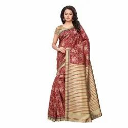 Beige & Red Colored Poly Silk Printed Casual Saree