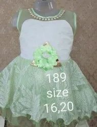 Girl Green and White Baby Infants Fancy Frocks, Size: 16, 20