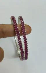 Handmade Natural Ruby Gemstone Bangle Je