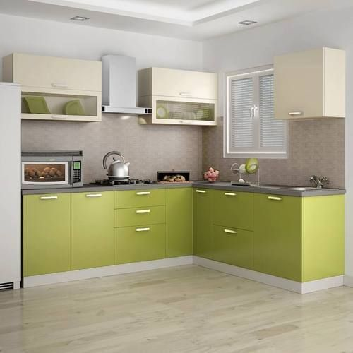 Contemporary L Shaped Kitchen Designs: PVC L Shape Modern Modular Kitchen, Rs 850 /square Feet