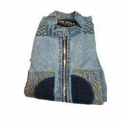 Blue Collar Neck Designer Mens Denim Shirts, Size: S-XXL