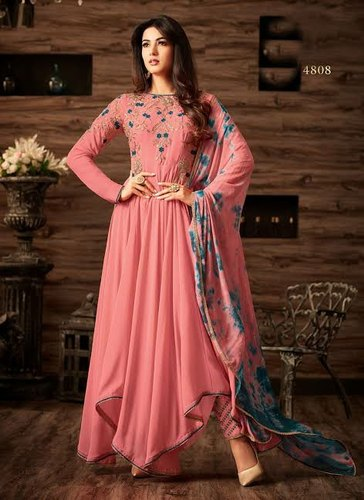New Rayon Embroidered Kurti with Pant and Dupatta