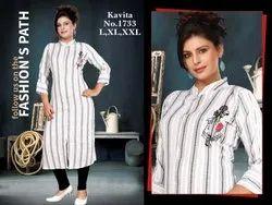 Striped Pattern Ladies Linen Kurti
