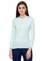 Pintapple Womens Cotton Henley Light Green Top