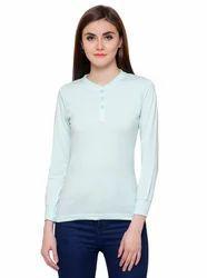 Full Sleeve Pintapple Womens Cotton Henley Light Green Top