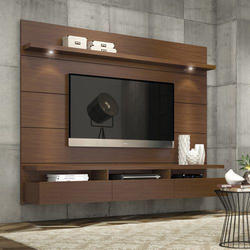 Wood Wall Mounted Brown Designer Tv Unit