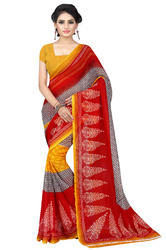 Faux Georgette Printed Saree With Blouse Piece