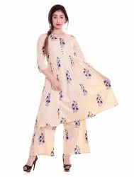3/4th Sleeve Ladies Kurti And Palazzo Set