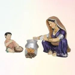 Antique Lady Chula With Baby Statue