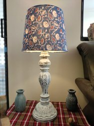 Antique Wood Table Lamp, For Decoration