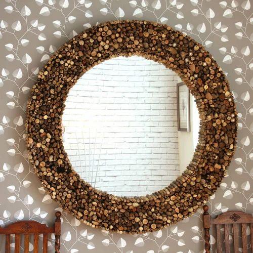 Round Wall Hanging Decorative Mirror, Shape: Round
