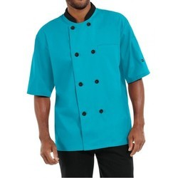 Chef Coat Turcoise Blue Short Sleeve Twill Weave Fabric Suzuki Mills