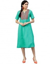 Women Sea Green Embroidered A-Line Cotton Slub Dress