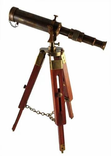 Simona Brass Antique Telescope On Brown Tripod Stand, Model Number: SI-BT001