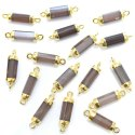 Brown Moonstone Tube Shape Gold Plated Connector