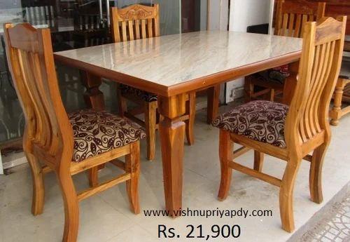 Brown Teak Wood Dining Table Rs 21000 Set Vishnupriya Enterprises Id 15679985955