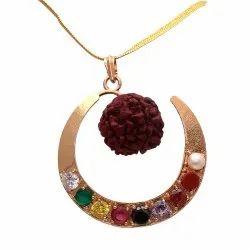 Designer Party Wear Synthetic Navratan/Navgrah Brass Moon Shape With Rudraksha Locket/Pendant
