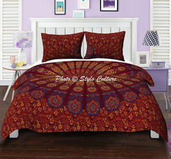 Maroon Yellow Mandala Queen Duvet Cover