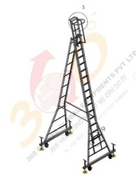 Self Support Telescopic Ladder - Mounted On Small Wheel