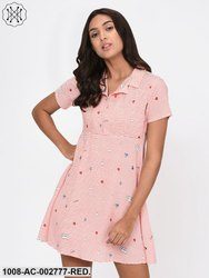Red Stripe Quirky Motif Print Dress for Women