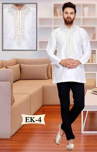 2255c9e720 Mens Silk White Embroidered Short Ethnic Kurta