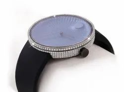 Regular Round Stainless Stell Real diamond watch, Packaging Type: Box, Weight: Normal