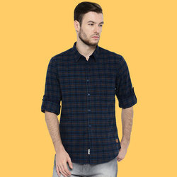 Mens Cotton Navy Blue Casual Shirts