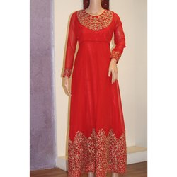 Red Embroidery Long Gown