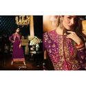 Georgette Purple Ladies Embroidered Suit