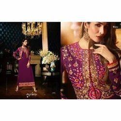 Purple Ladies Embroidered Suit