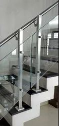 Top Mounted Square Balustrade with Glass Railing system