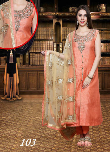 Silk Designer A Line Suits With Heavy Dupatta Rs 3750