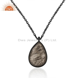 Black Rutile Gemstone Rhodium Plated Silver Chain Pendant Jewelry Supplier