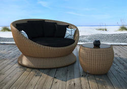 Rattan Furniture Outdoor Sectional Daybed Set with side table