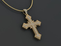 10K Gold Real Diamond Cross Pendant