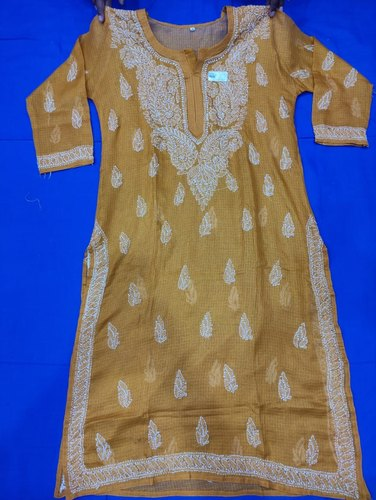 Long Kurti, Kota Cotton Fabric, With Neck Booti Embroidered, Fine Chikankari
