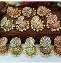 Golden Brass Traditional Artificial Earrings