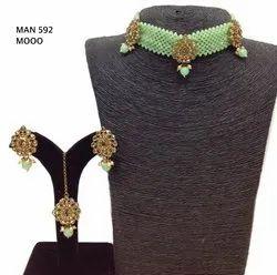 Beaded Handwork Chokar Necklace Set MAN 591, MAN 592