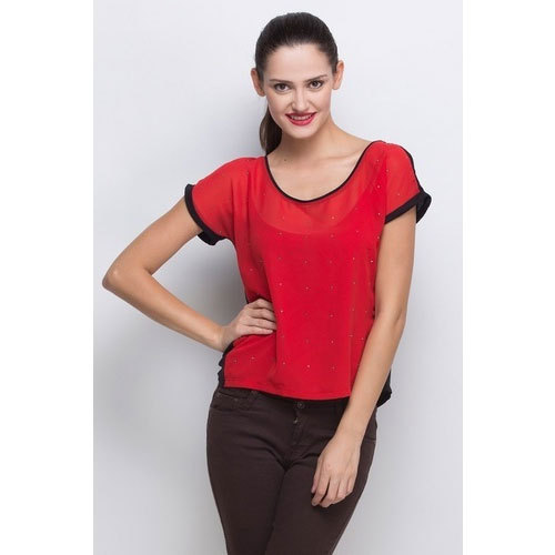Nylon Ladies Red Half-Sleeve Casual Top, Size: S, M and L