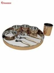 Copper & Stainless Steel Thali Set (9 Pcs)