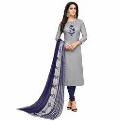 Rajnandini Grey Chanderi Silk Plain Semi-Stitched Dress Material With Printed Dupatta