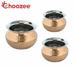Choozee -Steel Copper Serving Dahi Handi Set of 3 Pcs (400ML, 600ML and 800ML)