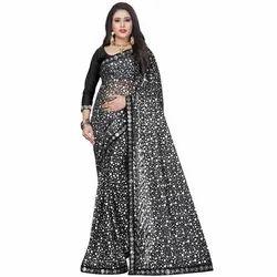 Ladies Party Wear Linen Saree