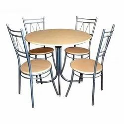 Round Stainless Steel Dining Table Set