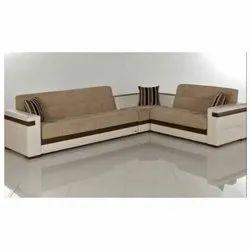 18 Inch 7 Seater Office Wooden Sofa, Shape: L Shape