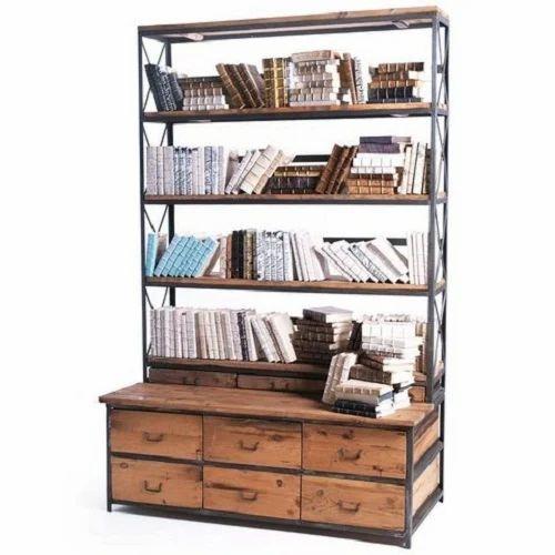 Iron And Wood Bookshelf Rack
